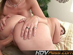 Nasty Milf sluts Sara Jay and Lisa Sparxxx share this guy's cock and tongue in this threesome