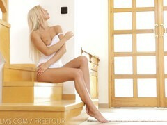 Pretty blonde, Lola Myluv is playing with her wet pussy while no one else is at home