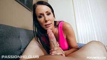 Astonishing brunette milf with big tits, Reagan Foxx got filled up with a rock hard dick