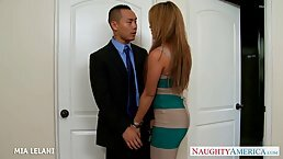 Gorgeous woman, Mia Lelani is having sex with an Asian guy she just met at work
