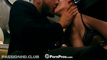 Rebellious girl in stockings, Jessica Rex likes to get a greasy cock into her sweet pussy